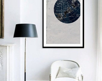 ON SALE Vintage Inspired Astronomy Print Poster, Constellations,Stars Map,  Zodiac, Gemini, Cancer, Leo, Virgo