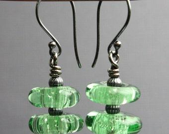 Green Bubble Bead Earrings, Green Lampwork Earrings, Green Bead Earrings, Green Glass Earrings, Lampwork Earrings, Kathy Bankston