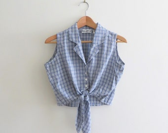 90s Plaid Front Tie Blouse Blue Sleeveless Button Down Crop Top Southwestern Preppy Women's Medium