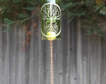 Infinity Tree Wine Bottle Wind Chime - Graduation Family Adventure Wander Explore Grow Reduce Reuse Recycle Windchime Patio Decor Family