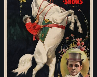 Art Print or Fridge Magnet, Ringling Bros. circus poster image, Jupiter the Equine Marvel, white horse, circus horse, horse performer