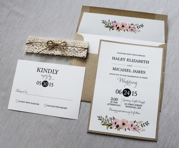 Boho Chic Wedding Invitations: Items Similar To Lace Wedding Invitation, Rustic Wedding