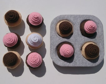 pretend kitchen felt swirl cupcakes set
