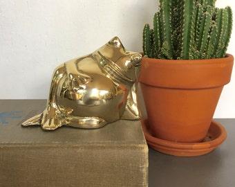 vintage brass frog figurine fat frog seated