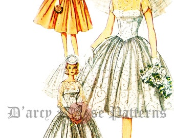 Simplicity 3958 Vintage 1960s Wedding and Bridesmaids Dress and Slip Sewing Pattern Sz 16