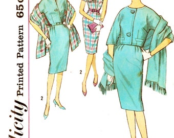 Simplicity 4309 Vintage 1960s Sheath Dress, Jacket and Stole Sewing Pattern Sz 14
