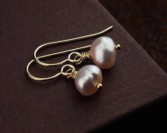 Pearl earrings freshwater pearl earrings freshwater pearl jewelry pink pearls pink earrings pearl drop earrings gold pearl earrings pearls
