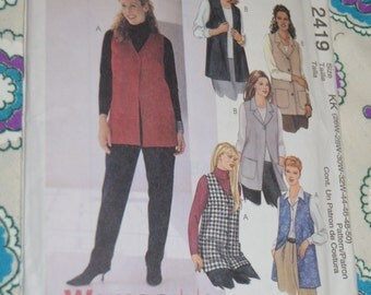 McCalls 2419  Womens Unlined Vests Sewing Pattern UNCUT Size 26W 28W 30W 32W 44 46 48 50