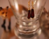 Bronze glass dangle earrings with Czech glass square drops and brass findings. Choice of non-pierced or pierced findings. (ea-15)
