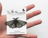 Moth Brooch // Illustrated Insect Jewellery -- Spotted Moth