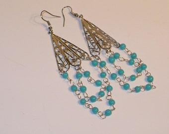 Aqua glass bead and chain chandelier earrings.