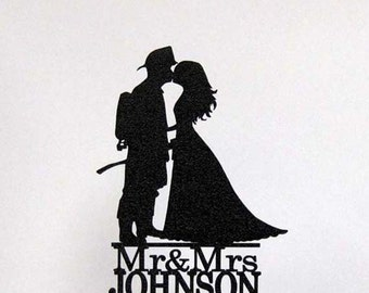 Personalized Wedding Cake Topper - Firefighter and Bride Silhouette 2 with Mr & Mrs name