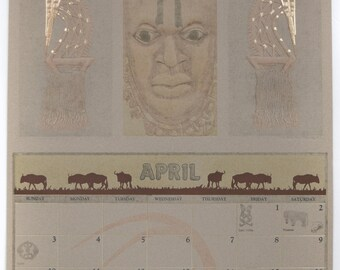 "Vintage 1988 A. Bauer, Inc. Feature Art Calendar Month of April   14"" x 21.25"" Chi-Wara Headdress"