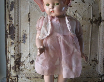 """Effanbee Patsy Lou Composition Doll, 22"""" Tall, Sleep Eyes, Molded Hair, Vintage 1930's, Marked"""