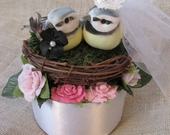 Wedding Cake Topper,Birds Nest Cake Topper-Love Birds-Wedding Cake Topper