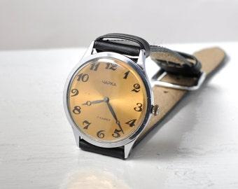 "Soviet watch ""Seagull"", Mens watch ,Yellow Watch , classic watch, Russian watch, Vintage Watch"