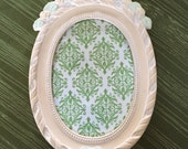 Vintage Shabby Oval Peach Stand Up Frame with Glass - Peach Colored with Bow and Roses - Shabby Frame - Pastels - Cottage Chic Frame Country