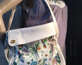 Vintage 1980's Gucci Floral Leather/Cloth Bag with long adjustable stap