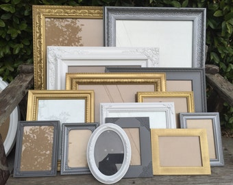 Wall Gallery Frames, Set of 15, Gray, Pewter, Gold and White, picture frame set, gallery frames, wall decor, wedding frames, (los angeles)
