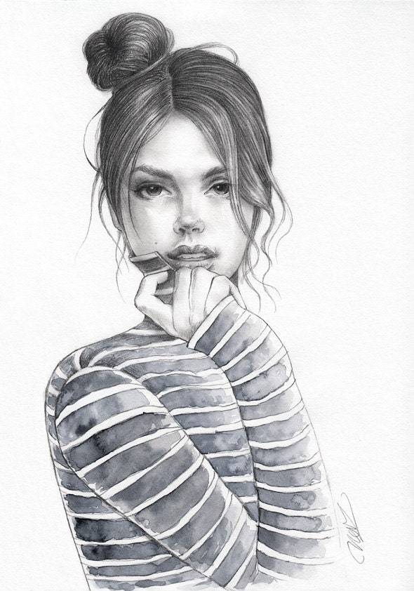 Original Pencil and Watercolor Fashion illustration Unique Unique Drawings In Pencil
