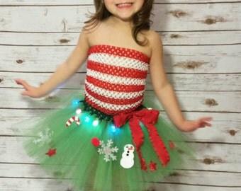 ADULT Light up Christmas tree Tutu WITH matching headband, 5K tutu