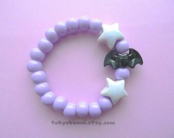 Purple Bats and Stars Bracelet -Kawaii- Gothic- Pastel Goth- Gothic Lolita- Sweet Lolita-JFashion- Harajuku- Fairy Kei- Creepy Cute
