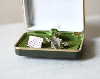 1980s silver cuff link set // vintage cuff links // vintage suit accessories