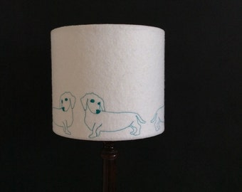 Embroidered Sausage Dog Lampshade