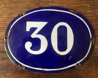 Beautiful old cobalt blue and white enamel large oval door number plate. Number 30.