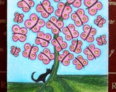 ACEO Original miniature Artist Trading Card design - Black Cat and Butterfly Tree 2 - original pencil drawing by artist Dee Summers