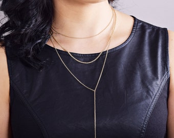Simple Long Necklace, Choker Lariat Set, Delicate Lariat Necklace,Layered Necklace Set, Double Strand Lariat,T Shirt Lariat, Silver or Gold