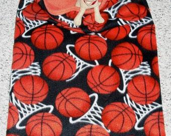 "Small Dog Fleece Dog Bed —Basketball Jones — Mini Dachshund Chihuahua Fleece Snuggle Sack, Burrow Bed 18x25"""