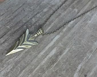 Antique Bronze Spear Necklace , Spear Jewelry , Bronze Pendant Necklace , Spear Necklace , Spear Jewelry , Girlfriend Necklace
