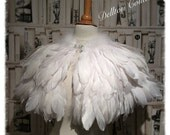 Luxury White Feather Collar Cape Capelet Victorian Bridal