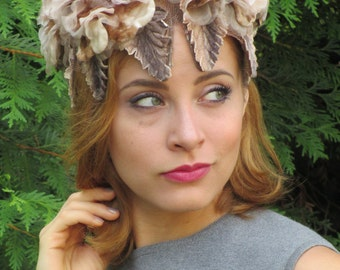 Goddess of Autumn 1950s 1960s Valerie Modes Hat, covered with silk flowers & leaves, and rhinestones!