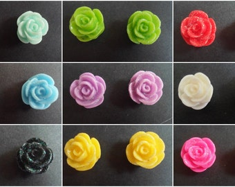 PREMADE One Pair Glitter Colourful Rose Earring Studs