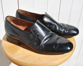 Churches Black Patent Leather Tuxedo Shoes, Slip Ons