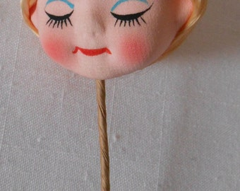 Vintage ANGEL HEAD PICK cloth hand painted face 6 inches tall