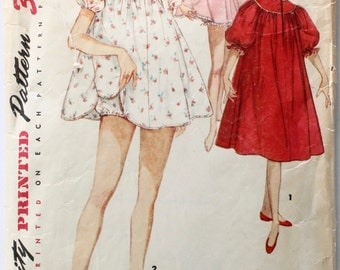 Vintage 1950s Women's Nightgown and Panties Sewing Pattern Size 12 Bust 30 Simplicity 1102