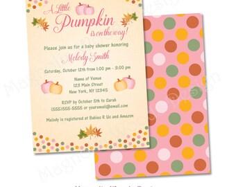 Fall Baby Shower Invitation, Little Pumpkin Baby Shower Invitation, Girl Fall Pumpkin Baby Shower Invitation - Printable Digital File