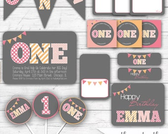First Birthday Party, Girl's 1st Birthday Party Package, Pink and Orange, ONE Party Printables, First Birthday Invitation, Girls, Printable