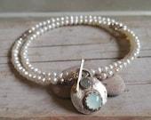 Reserved for maria, Toggle pendant, Labradorite and aquamarine bezel ,Sterling silver pendant toggle, Elegant, Minimaliste,