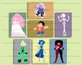 Steven Universe 6 x 4 art print – The Crystal Gems – Steven – Rose Quartz – Garnet – Amethyst – Pearl – Lapis – Peridot