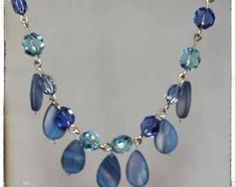 SALE...Dazzling Cobalt and Turquoise Crystal and River Shell Necklace