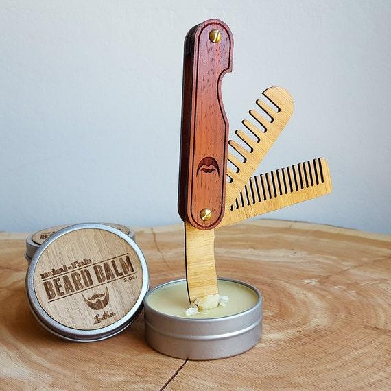 Peigne à barbe multi-outil de poche - pliage voyage bois barbe peigne fait de bambou durable et beau bois franc - le Trio