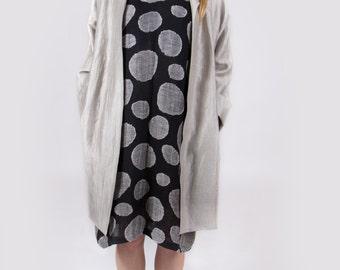 Gray linen coat Summer linen long jacket Natural color linen coat Oversize linen coat Grey coat