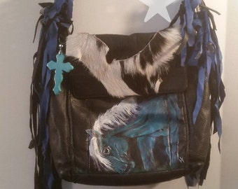 Fringed Hand Painted Horse Purse