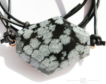 Zanshin Pendant from Align Energy with Natural Snowflake Obsidian Gemstone /// Align Energy Gemstone Energy Pendant /// Budo /// Zen Stone