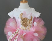 Minnie Mouse pink and gold tutu outfit, Tutu birthday outfit, Minnie Mouse birthday outfit