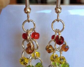 Beaded Earrings: Rainbow